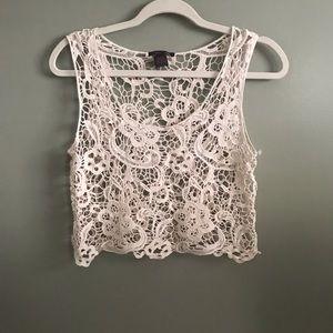 Bohemian cream color wide Crochet crop top L